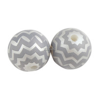 acrylic striped beads - 20mm Acrylic Solid Beads Zig Zag Chevron Beads White and Grey Striped Gumball Beads DIY Baby Kids Necklace Bracelet