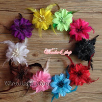 Headbands Cotton Animal 10pcs lot Wholesale Infant toddler baby girl Feather daisy Clip flowers for clip hair crochet headband 10Colors Hair accessory