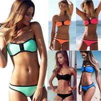 bandeau - Sexy Women Bandeau Bikini Swimwear With Zipper S M L XL Candy Mint Pink Orange Black Blue Colors Bathing Suit T160PT Bulk