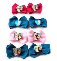 Barrettes metal Character Wholesale -Child Decorations Children Accessories Frozen Cartoon Anna Elsa Princess Bowknot Hair Accessory metal clip