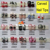 Full Natural Tips Square  Nail Tips Wholesale-MN-Free Shipping 80 Style Mix Nail Art French False Airbrush 3D UV Acrylic Pre Design Full cover designed Tips 12pcs+2g glue Set N