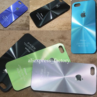 cd covers - For iphone Aluminum Metal CD Pattern Back Case PC Side Aluminium Back Hard Case Cover For iPhone s s With Logo Case