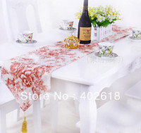 Party cotton table runner - Fashion Table runner Size x180CM quot quot Embroidery flower Cotton Fabric Wedding party decoration