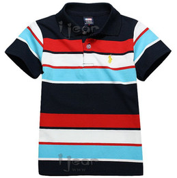 Wholesale Summer Clothes Kids Polo Shirt Of Boys Child Cotton Sleeve Red Blue Black White Stripe Color Four Big Size Years Children