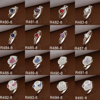 With Side Stones Gift Silver Plated Mixed Styles 925 Silver Mark Dazzling CZ Zircon Rings Women's Diamond Rings 50 pcs lot