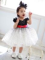 TuTu Summer A-Line Wholesale-MN-2014 new summer beautiful dress, girls bow belt dot princess dress, children's clothes dress