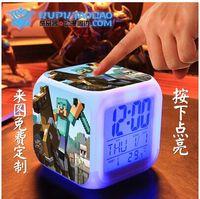 Wholesale hot sale Minecraft alarm clock frozen alarm clock LED Colors Change Digital Alarm Clock Night Colorful Changing toys