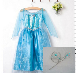 Wholesale New Frozen dress costumes long sleeve skirt Princess Elsa party wear clothing Crown Magic Wand sticks for Halloween Saints Day