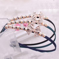 Headbands other Bohemian Direct new Korean version of sweet and cute hair accessories hair hoop pearl crystal diamond rhinestone bow hair bands