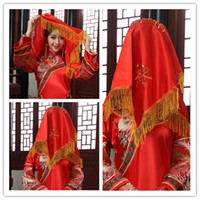 Wholesale Antiquity Red Scarf Chinese Bridal Veils Red Satin Fabric Wedding Veil With Golden String Tassels And Embroidery Chinese Tradition