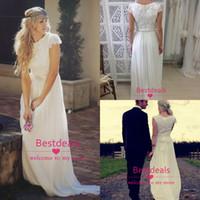 Ivory lace chiffon A line beach wedding dresses 2014 summer ...