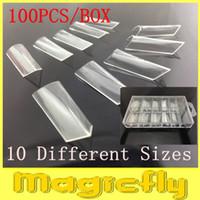 Gros-MN-[JZJL-009]100Pcs/Double Jeu des Ongles Système de la Forme(Paquet Avec la Boîte) pour les UV Acrylique Nail Art Tip + Livraison Gratuite