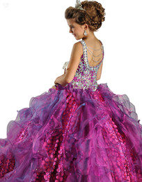 Wholesale Spaghetti Beads Ballgown Organza Girls Pageant Dress kids Party dresses Ritzee