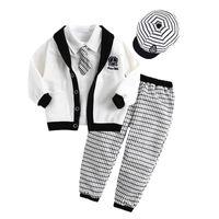 Boy Spring / Autumn Long Cool Boys' Suits Baby outfits Children's Clothes Sets cap tie jacket coat shirts plaid long pants 5pcs in 1 T07