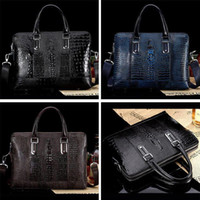 Wholesale Brand Men crocodile grain cowhide leather briefcase business shoulder bag messenger bags cross section portfolio ZA0003 salebags