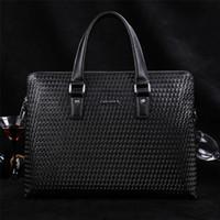 Wholesale Celebrity Fashion Men business genuine leather handbag casual black briefcase male tablet messenger bags pasta ZA0004 salebags
