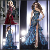 Model Pictures One-Shoulder Organza Peacock Embroidery Prom Dress 2015 One Shoulder High Side Slit Pageant Dresses Tiered Hemming Fishtail Trumpet Mermaid Prom Evening Dresses