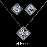Wholesale White Gold Plated Princess cut Swiss Cubic Zirconia Stone Pendant Necklace and Earrings Set