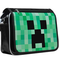 Wholesale Fashion Anime Minecraft JJ Creeper Messenger Bag Kids Outdoor Packs Shoulder Bag