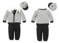 Boy Spring / Autumn Long Cool Boys' Suits Baby outfits Children's Clothes Sets cap tie jacket hat striped coat shirts long pants 5pcs in 1 T08