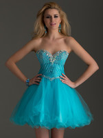 Cheap Sky Blue A Line Homecoming Dresses Sweetheart Neck Sparkle Beaded Corset Back Zipper Soft Tulle Skirt Short Prom Gown Special Occasion