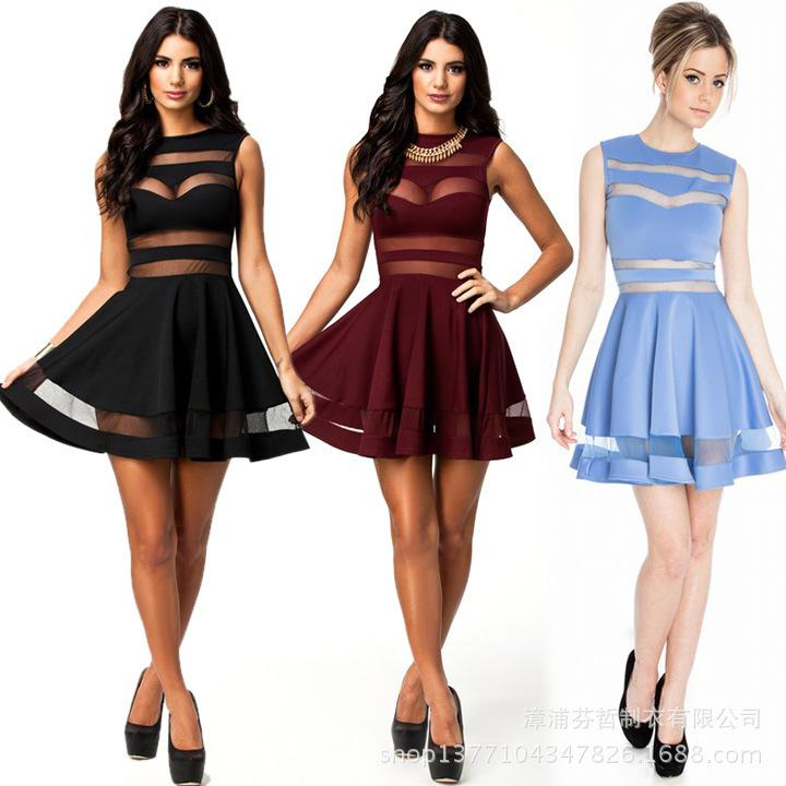 2014 Street Style New Fashion Dresses Women Sexy Mesh Patchwork A ...