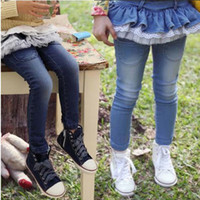 Wholesale Quality Children s Clothing Korean Children s Pants Fall New Pure Cotton Kids Jeans Falbala Gauze Girl Skirt Pants Jeans Trouse GX840