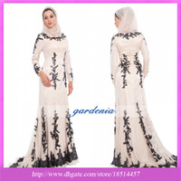 Wholesale 2014 Muslim Arabic Prom Dress New Design Champagne Black Lace Islamic Formal Long Dress Abaya Long Sleeve Muslim Clothing Evening Dress