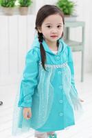 Wholesale 201407H Frozen raincoat Snow Romance Queen children raincoat