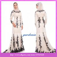 Reference Images High Neck Satin 2014 Arabic Muslim Prom Dress New Design Champagne Black Lace Islamic Formal Long Dress Abaya Long Sleeve Muslim Clothing Evening Dress