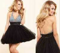 Model Pictures V-Neck Tulle 2015 Cute V Neck Halter Crystal Tulle Short Cocktail Dress Cheap Backless Puffy Ball Gown Short Homecoming Dress Sexy Black Party Gown