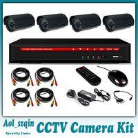 Wholesale cctv system cctv camera kit dvr kit g hdmi d1 dvr with real tvl cmos bullet camera leds with IR Cut Day Night waterproof black housing
