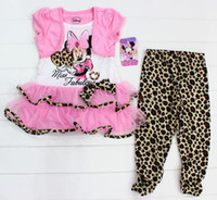 tunic tops - Baby Girls Micky Mouse Clothing Piece Cartoon Set Short Sleeve Dress Shirt Tunic Top Leopard Leggings Pants Girls Outfit Suit Sets