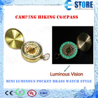 Wholesale In stock Mini Luminous Pocket Brass Watch Style Ring KeyChain Camping Hiking Compass Navigation Outdoor Compass M