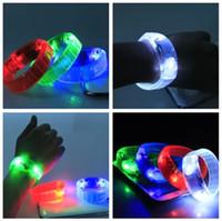 Halloween red,blue,green,white  Wholesale - Light Up Bracelet Bangle Sound Controlled Voice activated fluorescent bracelet LED Flashing Bracelet hand strap