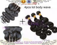 Brazilian Hair Body Wave Under $30 Brazilian Virgin Hair 4pcs Lot Middle Part Lace Closure With 3pcs Hair Bundles Unprocessed Human Virgin Hair Extension Body Wave