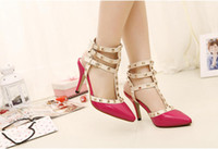 Wholesale 2014 designer JOJO women s cm high heel belt with rivets pumps the wedding summer shoes cheap shoes SLTX47