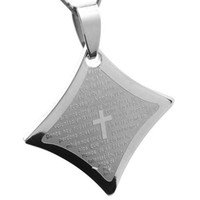 Cheap 2014 Fashion Mens Womens Christian Pendant High Quality Costume Jewelry Stainless Steel Quadrate Silver Cross Pendant Wholesale