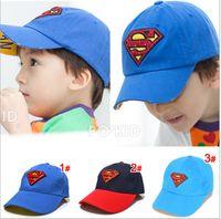 Wholesale 2014 Korean Snapbacks Hats Children s Superman Returns Baseball Cap Peaked Cap Kid s Sport Hat Blue And Navy children acceesories zlh00