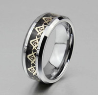 Wholesale 2014 New Rings For Men s Tungsten Steel Jewelry Masonic Commemorative Ring Religious Rings