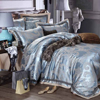 100% Cotton Woven Jacquard Luxury jacquard satin blue wedding bedding comforter set king queen size duvet cover bedspread bed in a bag sheet bedroom bedsheet brand