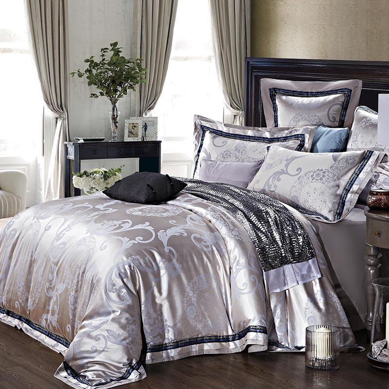 quality jacquard satin luxury silver grey wedding bedding comforter set king queen size duvet. Black Bedroom Furniture Sets. Home Design Ideas