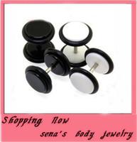 Wholesale Fashion black white round metal stud earrings acrylic round chunky punk ear studs for cool men women fake cheater ear plug