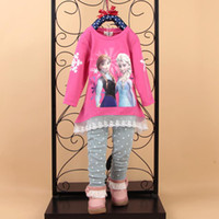 Spring / Autumn kids clothes high quality - 2014 New High Quality baby tracksuit clothing set Girls Frozen T shirts pants Anna Elsa Cute lace printing kids clothes