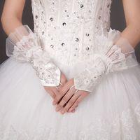 Wholesale Vintage White Waist Length Bridal Gloves Fingerless Wedding Gloves Bowknot Beading Lace Bridal Gloves Rhinestone Bridal Hand Gloves