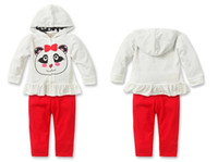 Wholesale Baby Girls Long Sleeve Red Cartoon Cat Printed Zip Hoody Coat Ted Long Trousers Set Childrens Clothing Set Autumn Child Clothes M0611