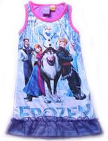 Girl Summer 3,4,5,6,7,8,10Y Frozen Elsa Anna nightie dress baby girls princess cotton nightgowns nightie kids summer sleepwear PJS kids cartoon pajamas PJS