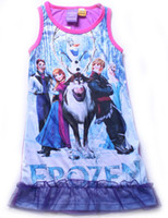 Wholesale In Stock Frozen Elsa Anna girl girls sleeveless nightie dress nightgowns nightie cotton sleepwear PJS kids cartoon pajamas