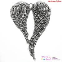 Wholesale Charm Pendants Angel Wing Antique Silver x4 cm K10046