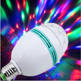 Wholesale FEDEX Shipping Full Color W E27 RGB LED Crystal Stage Light Voice activated Or Auto Rotating DJ party bulb KTV stage Lig